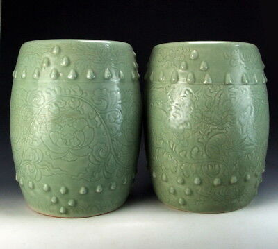 Pair of Amazing China Antiques Longquan Ware Porcelain Garden Stools