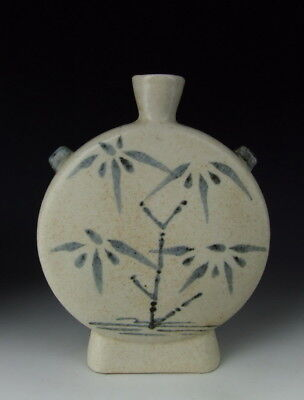 Chinese Antique B&W Porcelain Flat Moon Vase with Bamboo Tree
