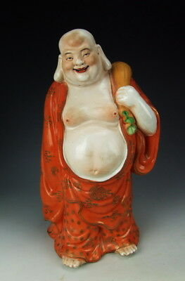 Chinese Antique Famille Rose Gilt Porcelain Happy Buddha Statue