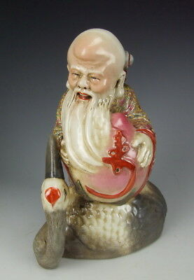 Chinese Antique Famille Rose Porcelain God of Longevity Statue