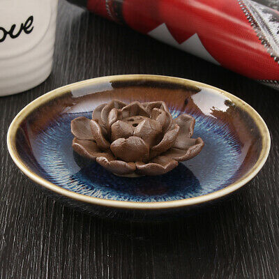 3 Sticks Hole Ceramic Lotus Smoke Incense Holder Clay Burner Censer Backflow 🔥