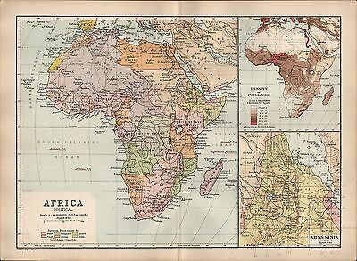 1895 Victorian Map ~ Africa Politicalpopulation Density Abyssinia Cape Colony