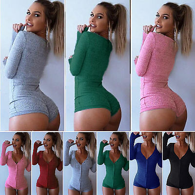 Womens Long Sleeve Leotard Tops Bodysuit Jumper Bodycon Jumpsuit Short Romper