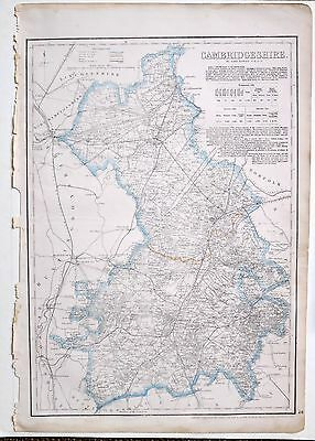 1864 Large Antique Map ~ Cambridgeshire March Ely Royston Newmarket