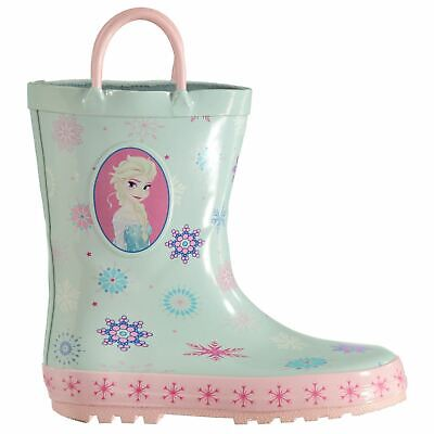 Disney Frozen Wellington Boots Infants Girls Green/Pink Wellies Gum Boot