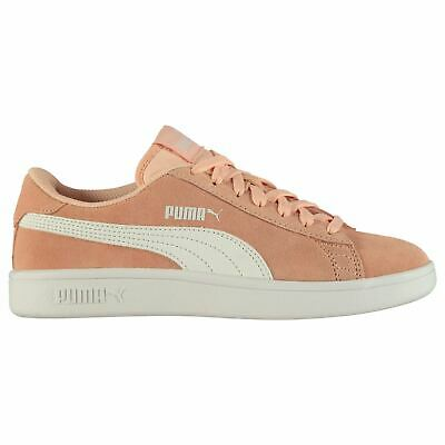 Puma Smash v2 Suede Trainers Juniors Girls Peach/White Shoes Sneakers Footwear