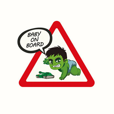 Autocollant Voiture Bébé à bord Hulk Baby on Board car Sticker Aufkleber Auto