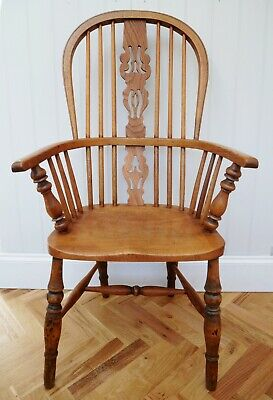 Fine Antique Yew Wood Worksop High Back Windsor Armchair Excellent Original Cond