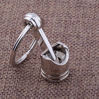 Hot Engine Auto Car Part Silver Metal Piston Alloy Keychain Keyring Keyfob