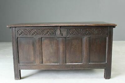 Antique 18th Century Oak Coffer Rustic Storage Blanket Box