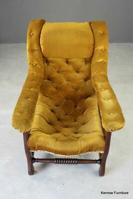 Antique Edwardian Upholstered Yellow Gold Button Back Open Arm Chair Armchair