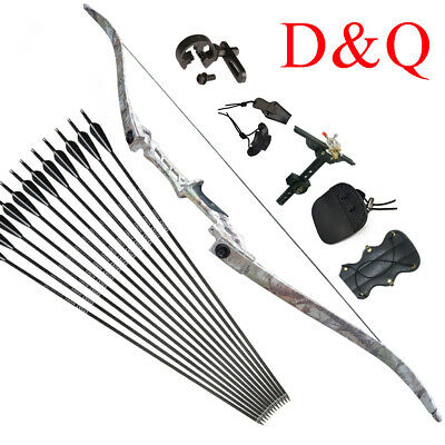 """Archery Recurve Bows 57/"""" Kits Take Down 35LBS Right Hand Men Arrows and Quiver"""