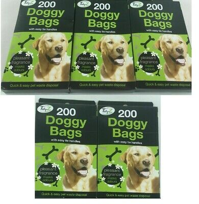 1000 Doggy Bags Scented Dog Poo 26-29cm Medium Pooper Scooper Waste Tie Handles
