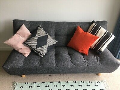 Habitat KOTA Black/white fabric 3 seater sofa bed