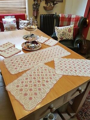 Crocheted Table Centre/Runner & 6 Placemats, Pink & Cream