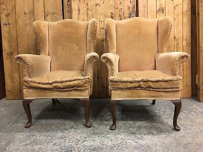 Pair Vintage Parker Knoll Wingback Fireside Armchairs. Restoration Reupholstery.