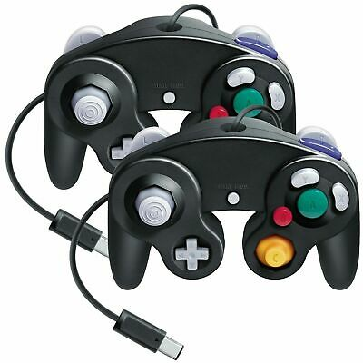 2 Pcs Game Controller for Nintendo GameCube Gamepad GC &amp Wii Black Joypad UK