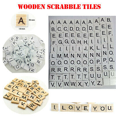 Mix New Wooden Scrabble Tiles Black Letters Numbers For Crafts Wood Alphabets UK