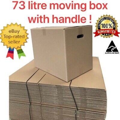 25 x Moving Cardboard Packing Boxes 73Litres Cartons With Handles-Same day Post