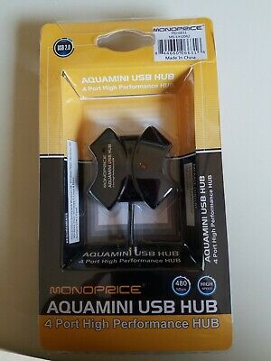 NEW MONOPRICE AQUAMINI USB HUB 4 PORT HIGH PERFORMANCE 2.0 480Mbps