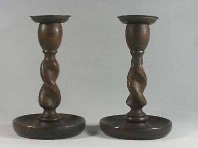 Pair of Vintage Solid Oak and Brass Barley Twist Candlesticks