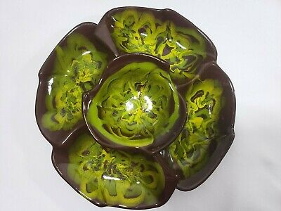 Vintage MCM Ceramic Chip and Dip Set Brown Green Yellow Glazed Wooden Lazy Susan