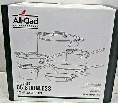 All Clad D5 Brushed Stainless Steel 10 Piece Cookware Set BD5005710-R NIB