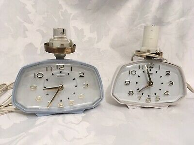 2 x Vintage / Retro Metamec Electric Bedside Alarm Clock / Lights - White & Blue