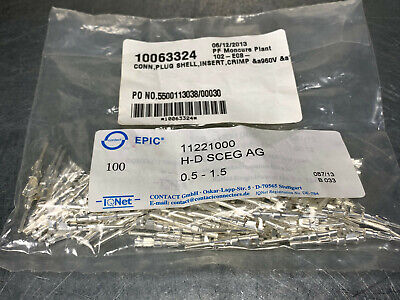 (100) Lapp Epic 11221000 Power Contact Silver Pin Male 3.5 to 0.5 mm 20 - 16 AWG