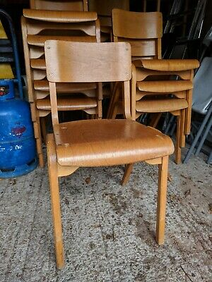 Vintage Stacking Upcycled Wooden School Cafe Chairs