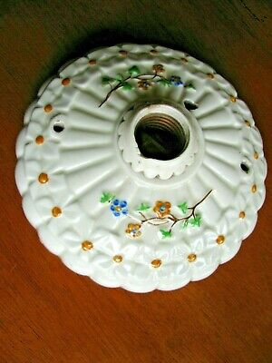 "Vintage Art Deco Porcelain Ceiling Floral Light Fixture Ceramic 6"" Single Bulb"