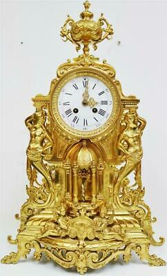 Amazing Large Antique French 8 Day Pierced Bronze Ormolu Ornate Mantel Clock