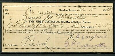 Us First National  Bank Of Mound Valley Kansas, Cancelled Check 12/15/1910