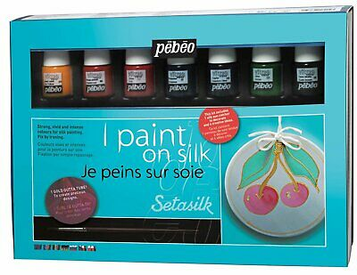 Pebeo Setasilk Silk Painting Kit with 8 Colours, Material, Gutta & Accessories