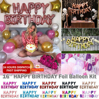 "HAPPY BIRTHDAY 16""inch SELF-INFLATING BALLOON BANNER BUNTING PARTY GIANT BALOONS"