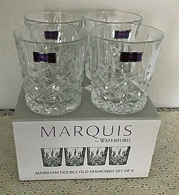 Marquis By Waterford Markham Double Old Fashioned Glasses Set Of 4 New In Box!