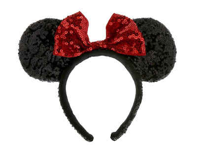 Disney Parks Minnie Mouse Signature Dress Shop Collection Red Bow Sequin Ears