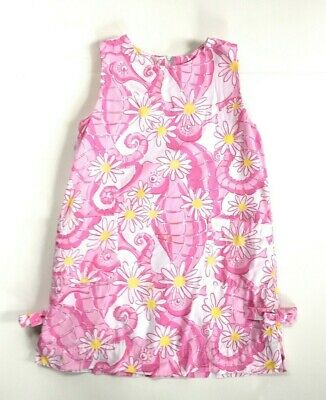 Lilly Pulitzer Pink White Yellow Floral Daisy Seahorse Shift Dress w/ Bows 5T
