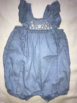Baby Gap Girls Romper * 3-6 Months * Chambray  * One Piece * Summer Outfit