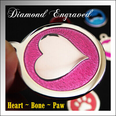 Pet ID Tags for Dog | Custom Diamond Deep Engraved Made in USA | BONE PAW HEART