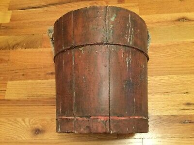 Antique Old Primitive Country Farm Wooden Wood Red Chippy Paint Bucket