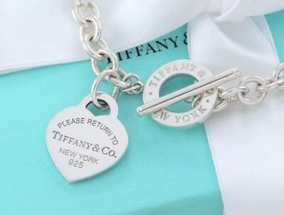 9ec6ada85 Please Return to Tiffany & Co Silver Heart Tag Toggle Necklace New Version  ...