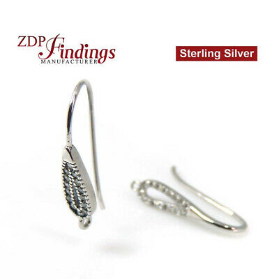 Sterling Silver Rhodium Coated French Ear wire Earring Blank with CZ