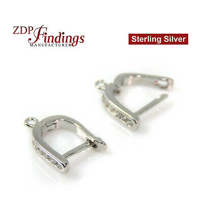 Sterling Silver 925 Rhodium Coated Earring Blanks with loop and CZ