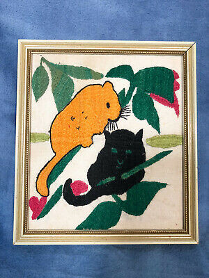 Vintage Jungle Cats In Tree Panther Leopard Crewel Hand Made Wall Art