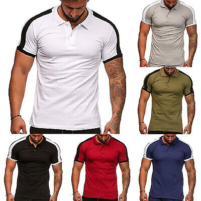 Mens Sports T-Shirt Short Sleeve Summer Casual Slim Fit Muscle Tops Polo Shirts