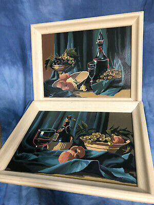 """Vintage 18.5"""" Framed Pair of Paint By Number Still Life Paintings, Wine Fruit"""
