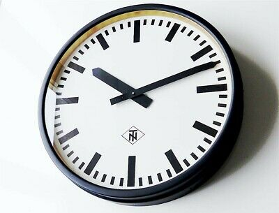 LARGE antique TELENORMA  Industrial Clock factory wall Bauhaus old midcentury