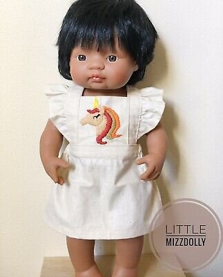 Miniland Doll Clothes Flutter Pinny ~Unicorn Embroidery ~