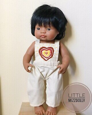 Miniland Doll Clothes Overalls ~rainbow Heart Embroidery ~